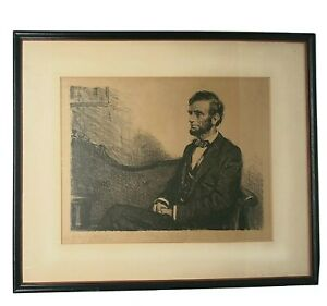 S.J. Woody Original Lithograph Portrait Of Abraham Lincoln Framed