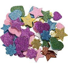 Moosgummi Sticker mit Glitzer 100 Stk Sterne und Herzen selbstklebend