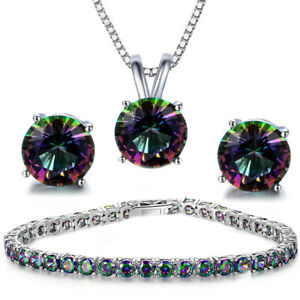Solid 14K Yellow Gold Mystic Topaz Stud earrings & Pendant Set Diamond Sparkle