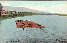 Rafting on the Delaware River Vintage Lumber POSTCARD w two span truss Bridge