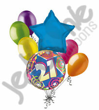 7pc Colorful 21st Stars & Swirls Happy Birthday Balloon Bouquet Party Decoration