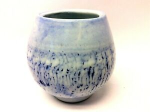 2013 Signed B Glazed Porcelain White Blue Oval Shaped Bud Vase Flower Decorative