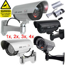Dummy Camera CCTV Security Surveillance Cam Fake Red LED Indoor Outdoor Silver.
