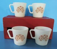 Set/4 Vintage Pyrex Coffee Mugs, Summer Impressions w/Ginger Brown Flowers #1410