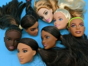 Lot of 7 Heads from Barbie Dolls for Play Replace Reroot Repaint Art ooak custom