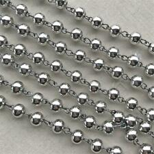 8mm Antique Silver Plated Round Ball Beaded Rosary Gunmetal Eyepin Chain Q2 Feet