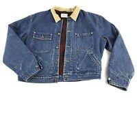 Vintage Polo Ralph Lauren Denim Jacket Buffalo Plaid Wool Lined Large Dungarees