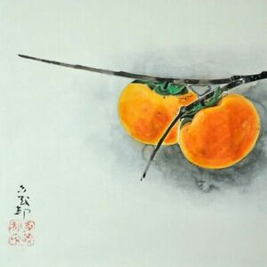 JAPANESE PAINTING HANGING SCROLL JAPAN Persimmon VINTAGE Old ART 089q