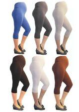 Maternity Trousers Capri 3/4 Leggings Maternity Leggings Opaque Cotton
