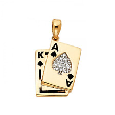 14K Solid Yellow Gold CZ Ace & King Of Spades Poker Cards Pendant Necklace Charm