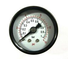 40mm Pressure Gauge Rear Entry 0-15 PSI / 0-1 BAR AIR AND OIL  1/8 bsp