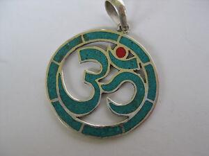 Turquoise Silver Pendant ~ Sanskrit OM, Buddhism Aum