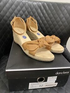 Brown Leather Wedge Heels By Diana Ferrari Size 12