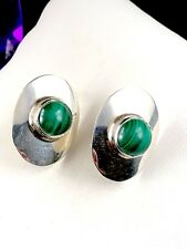 FABULOUS SIGNED STERLING SILVER OVAL MALACHITE STONE PIERCED EARRINGS