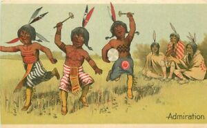 Admiration Indians dancing Artist Impression C-1910 Postcard Fuller & CO 10131