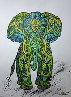 Illustration Indian Elephant Paper Mixed Media Watercolour pencils Ink Gouache