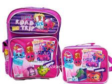 "Shopkins Large School 16"" Backpack Lunch Bag 2pc Set New!"