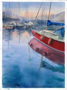 original painting 28 x 38 cm 134PO art watercolor seascape sunset harbor port
