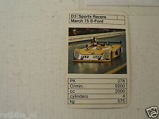 49-BOLIDES RACE CARS D3 MARCH 75S-FORD   KWARTET KAART,