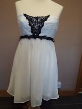 Asos Size 14 White & Black Lace Sleeveless Dress New With Tags