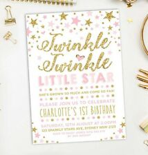 Twinkle Little Star Invitation First 1st Birthday Invite Pink Gold Girls Party