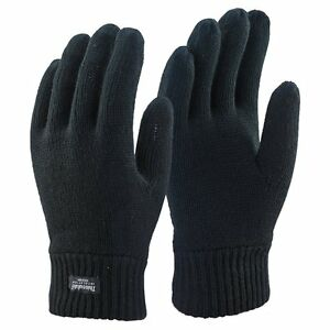 Mens 3M Black Thinsulate 40 Gram Thermal Lined Winter Warm Knit Gloves, 3 Sizes