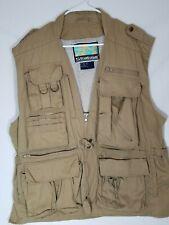 STRATOJAC Large Tan Beige Mens Fishing Safari Hunting Vest Khaki EUC Lined Zips