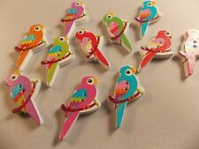 10 WOOD 2 hole Parrot Buttons for CARD MAKING SCRAP BOOKING SEWING OR CRAFTS