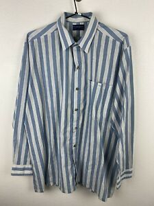 Vintage Monogram Mens Shirt Size L 80s Long Sleeve Button Up Regular Fit Striped