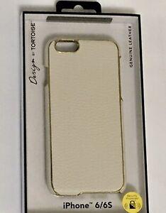 Tortoise iphone 6/6s genuine textured leather case/skin Cream with Gold trim