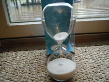 "REAL WHITE SAND HOUR GLASS HALF HOUR 30 MINUTE TIMER 8"" TALL ALL GLASS COOL HTF"