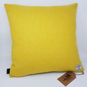 YELLOW Plain Wool lemon Tweed Cushion Cover genuine Harris Tweed all sizes