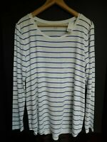 NWT Gap Women's Luxe Long Sleeve White/Blue Striped Top M L XL New MSRP $35