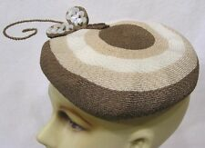 Vintage Womens Hat Marche Tan Straw with Shell Shapes and Winged Accents 1950s