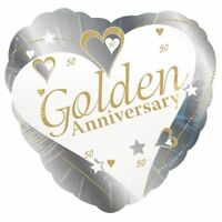 """17"""" Golden Anniversary Foil Balloon Helium 50 Year 50th Wedding Party Decoration"""