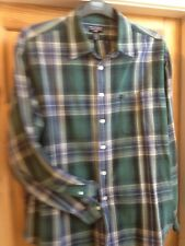 mens ralph lauren polo heavy check shirt- rare vintage--used-green blue white xl