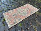 Vintage doormats, Turkish small rug, Hand-knotted wool rug, Carpet  1,5 x 2,9 ft