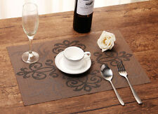 6 x Waterproof Placemats Insulation Mat Table Coasters Kitchen Dining Room Brown