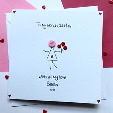 Personalised Handmade button Mothers Mother's Day card
