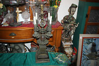 Antique Gothic Medieval Candelabra Table Lamp Metal Marble Large Heavy 5 Light