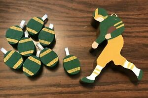 GREEN BAY PACKERS CHRISTMAS ORNAMENTS, PLAYER, FOOTBALLS, WOODEN & HAND-CRAFTED