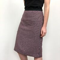 Talbots Pink & Black Wool Blend Career Business Knit Pencil Skirt Women's Size 8