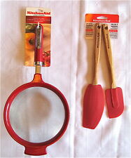 """KitchenAid Classic Large Red Stainless Steel Strainer 7"""" + 2x Silicone Spatula"""