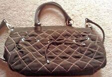 Vera Bradley EXPRESSO Dark Brown Tie Front Tote Microfiber Shoulder Handbag euc
