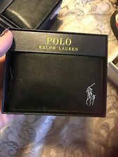 New Ralph Lauren Black Smooth Leather Screened  Bifold Passcase Mens Wallet