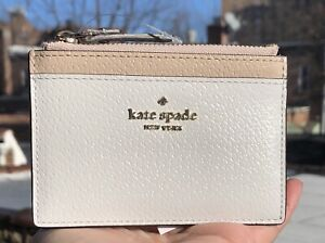 🌸 Kate Spade leather coin card case zip adi grove street in white beige new $59