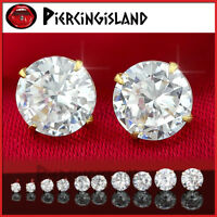 STERLING SILVER MENS WOMENS GIRL ROUND STUD EARRINGS made with Swarovski Crystal