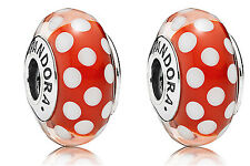 set/lot 2 Pandora Classic Minnie Mouse Red Polka dots Murano Glass  Charm Ale ^
