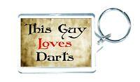Darts Keyring - This Guy Loves - Novelty Cute Sport Gift Custom Present