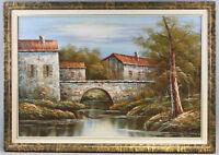8360142 Öl-Gemälde signiert N. Jacob Brücke am Waldrand